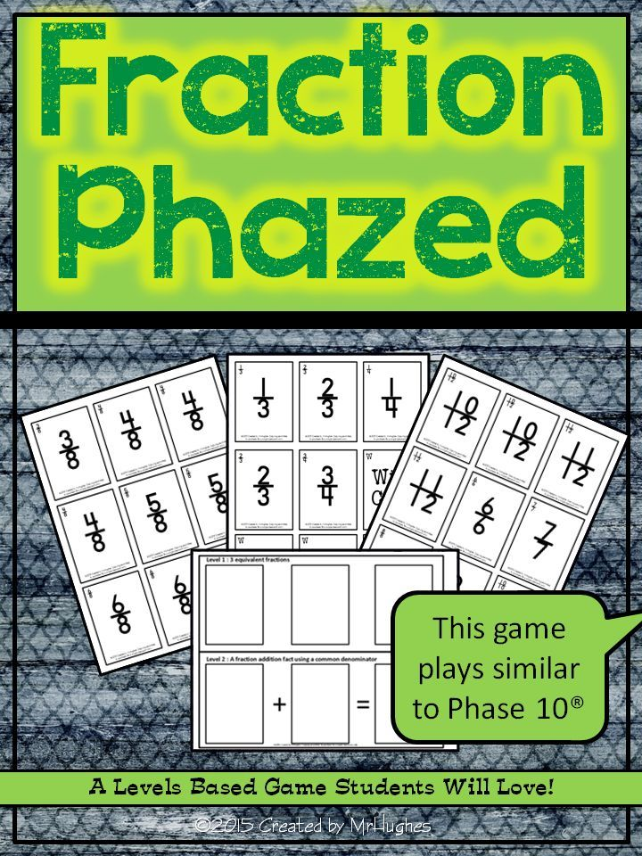 Welcome to a fast-paced Phase 10 style game that will have your students engaged and excited to practice their fraction skills. Students must race to master 5 levels of different combinations of different fraction operations. ($)