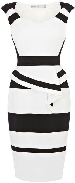 KAREN MILLEN ENGLAND Colourblock Cotton Peplum Dress - Lyst