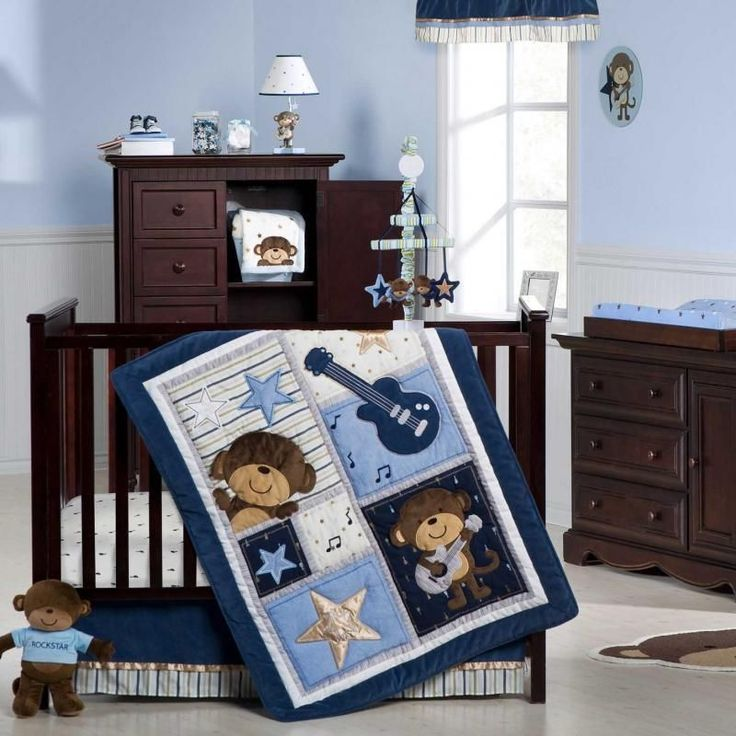 Monkey rock star baby boy 5pc crib bedding set music nursery theme