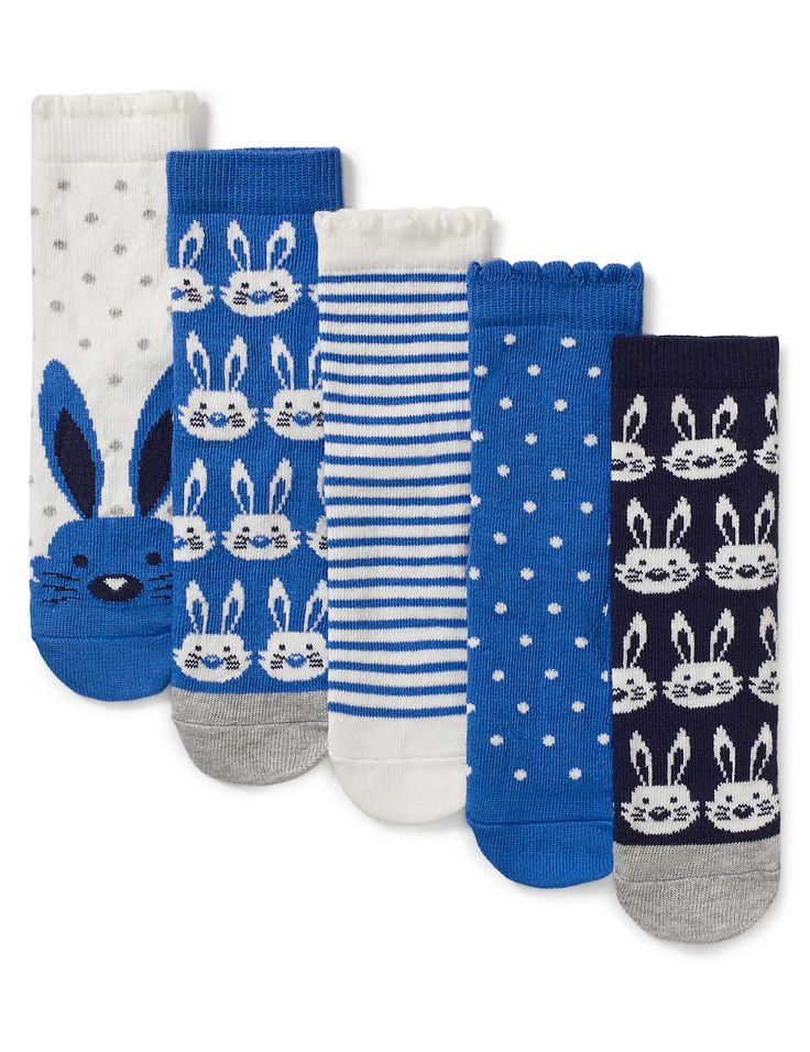 5 Pairs of Cotton Rich Assorted Socks (1-7 Years)