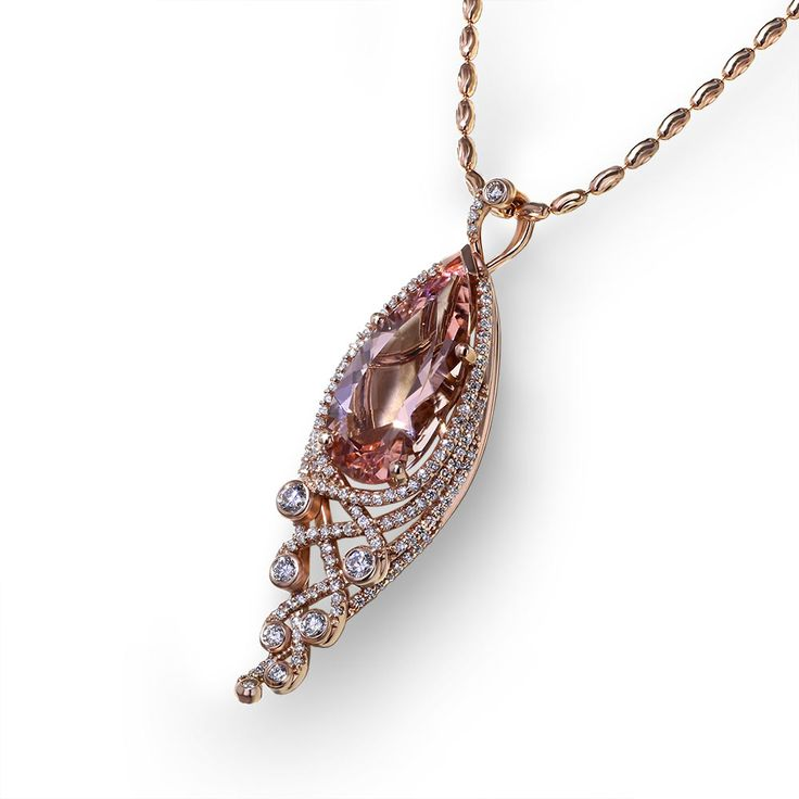 If pink is your color, and you like fine jewelry, you will be amazed at this elegant Pear Shape Morganite Rose Gold Necklace created by artisans at Jewelry Designs.
