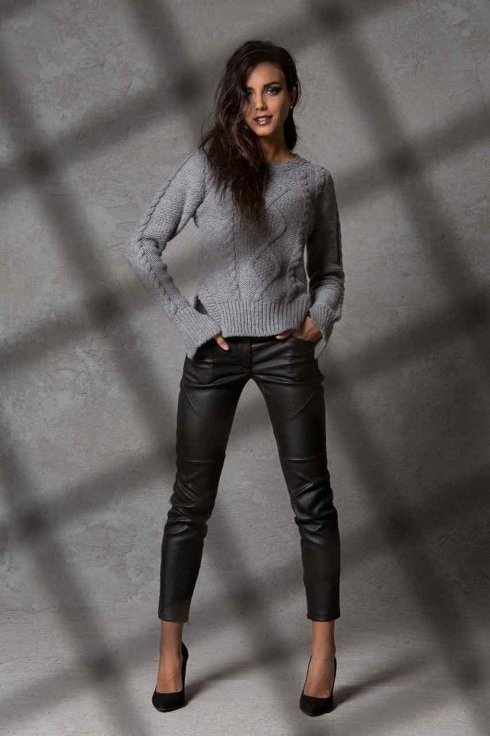 leather pants and grey sweater