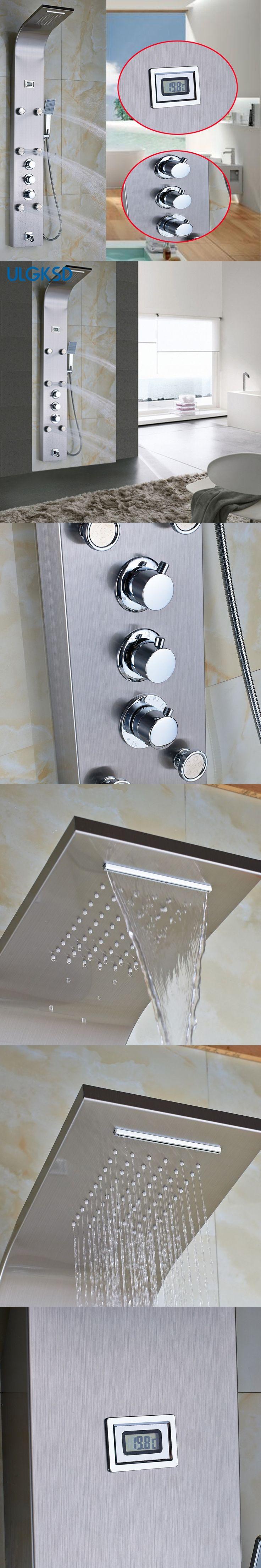 Ulgksd Thermostatic Shower Faucet Shower Column Digital Display 6ps Massage Jets Tub Faucet Filler Spout W/ Hand Shower Panel