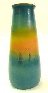 Medalta Potteries limited edition (106/1570) Hand-painted Sailboats studio Vase (1946)