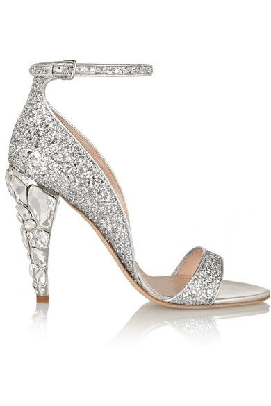 Heel measures approximately 110mm/ 4.5 inches Silver glittered leather Buckle-fastening ankle strap
