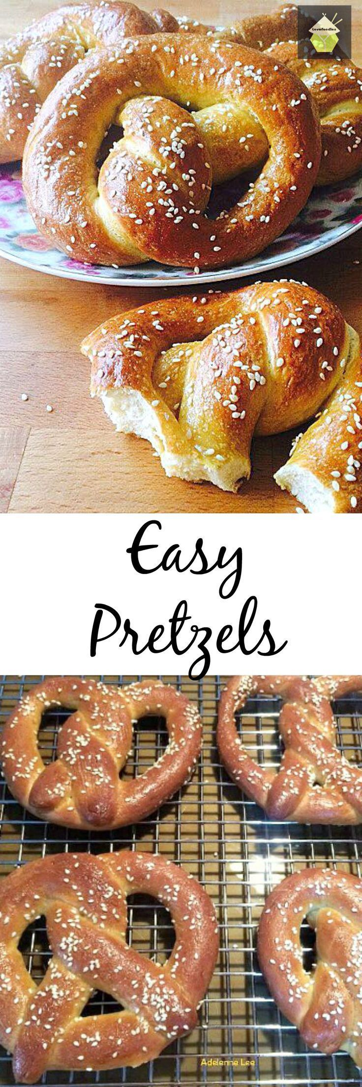 Easy Pretzels. These are delicious and easy to make. You can add sweet or savory toppings, such as a chocolate coating or melted cheese, very flexible! Great party food! #bread #pretzel #partyfood