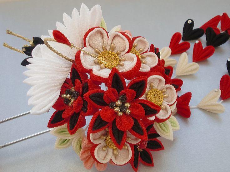 イメージ5 - つまみ細工 あでやか八重菊のかんざしと鶴のかんざしの画像 - つまみ細工 花ちりめんのかんざし - Yahoo!ブログ