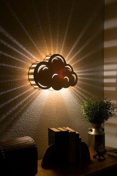 Cloud Night Light – Wall Hanging Baby & Kid's Room Lamp – Nature Decor – Wooden Lasercut Accent Lighting – Laser Cut Nightlight