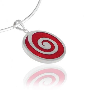 A handmade sterling silver pendant, featuring a round shaped deep red coral gemstone and the perpetual Circle of Life as inlay, in 925 fine silver. This ancient Greek symbol respresents infinity and the cyclical nature of life. Add to your beauty with this modern and classy red coral silver pendant. Create versatile casual looks by matching it with elegant red coral sterling silver earrings or delicate red coral sterling silver bracelets.