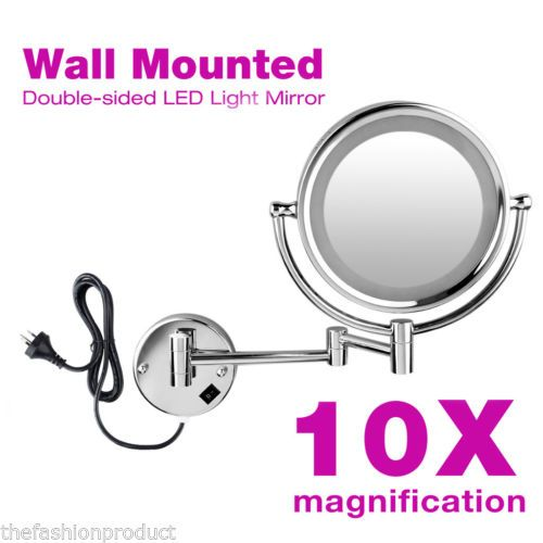 Beauty-Wall-Mounted-Bathroom-2-Sided-10x-Magnifying-LED-Makeup-Cosmetic-Mirror