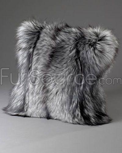 silver indigo fox fur pillows