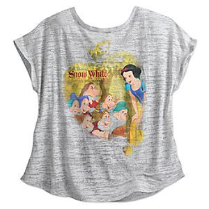 Every tale will end happily while wearing this sheer burnout tee with fashion forward cut and charming vintage storybook illustration of <i>Snow White and the Seven Dwarfs</i>.