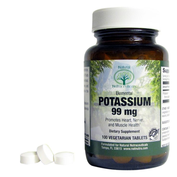 Potassium  Pure and potent potassium supplement vital for heart, nerve, and muscle health. Also important electrolyte that regulates balance of fluids inside and outside cells, including blood and water levels.
