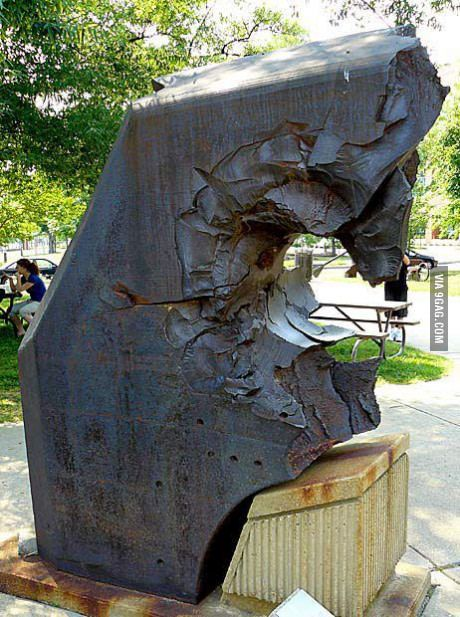 26-inch thick armor from Japanese Yamato class battleship, pierced by a US Navy 16-inch gun.