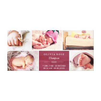 #elegant - #Crimson & White Photo Collage Baby Canvas Print