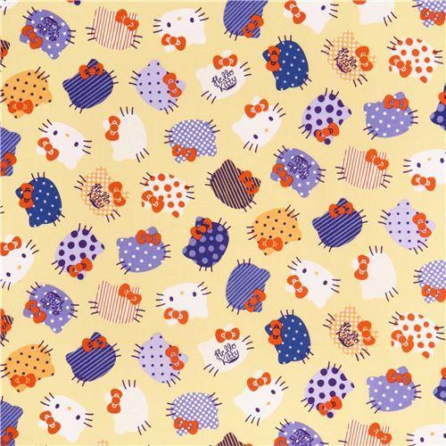 light yellow Hello Kitty cute face fabric by Kokka  2