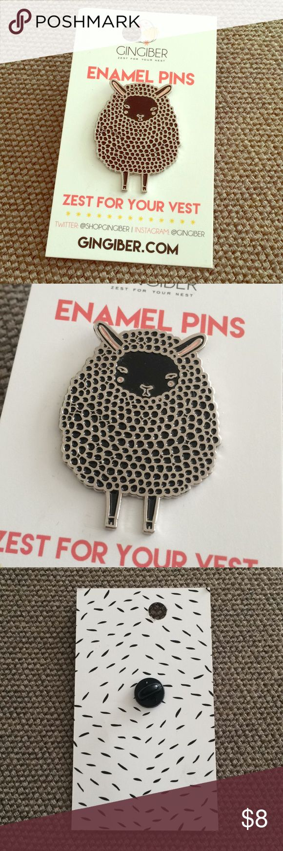 Enamel sheep pin, brand new from Gingiber  Zest for your vest! Brand new/never worn cute enamel sheep pin from Arkansas stationery company Gingiber. Quarter for size comparison; about one & 1/8 inches wide.  Adorable! Offers okay, bundles better. Please ask any questions. Ships daily  Gingiber Jewelry
