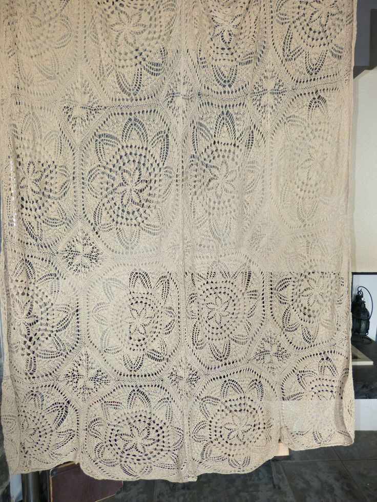 Vintage Retro Shabby Chic Hand Crocheted Cotton Lace Curtain