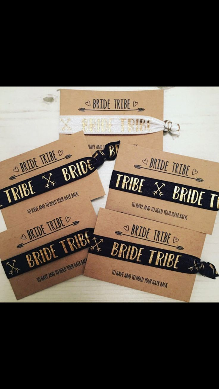 Cute wrist bands for the bride tribe!