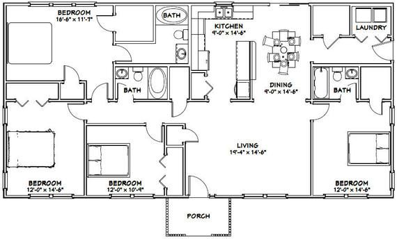 60x30 House -- 4-Bedroom 3-Bath -- 1,800 sq ft -- PDF ...