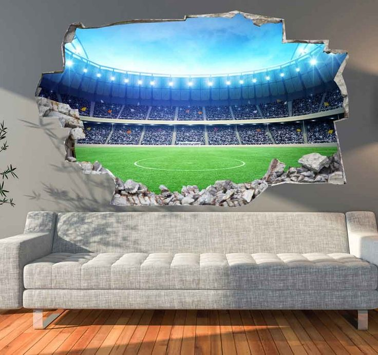 3D Muursticker Voetbalveld | Muurmode.nl