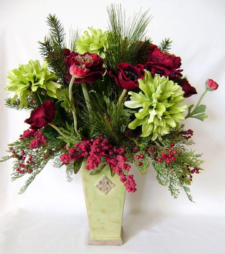96 best christmas silk flower arrangements images on pinterest red ranunculus christmas arrangement christmas arrangementssilk flower mightylinksfo Choice Image