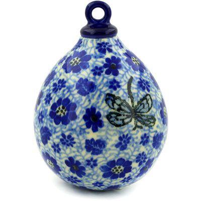 Polish Pottery 4-inch Ornament Christmas Ball | Boleslawiec Stoneware | Polmedia H5317D | Polmedia