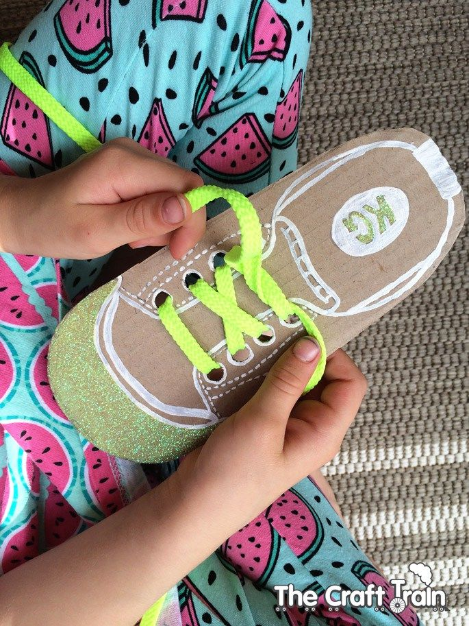 DIY shoe lacing cards for kids