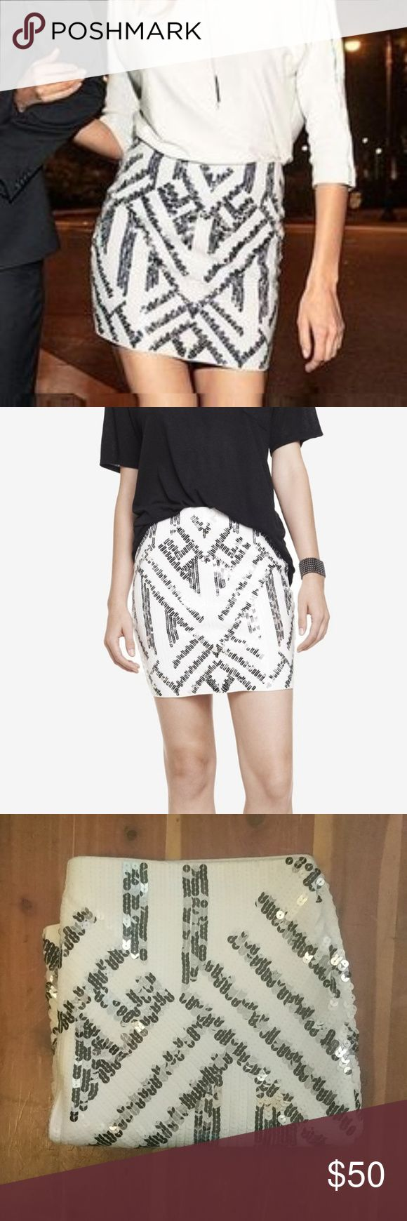 Sequin Skirt White and Silver sequin skirt Express Skirts Mini
