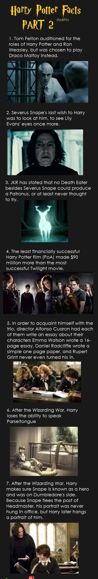Harry Potter facts part 2 not sure abt some of these but I like the one abt snape