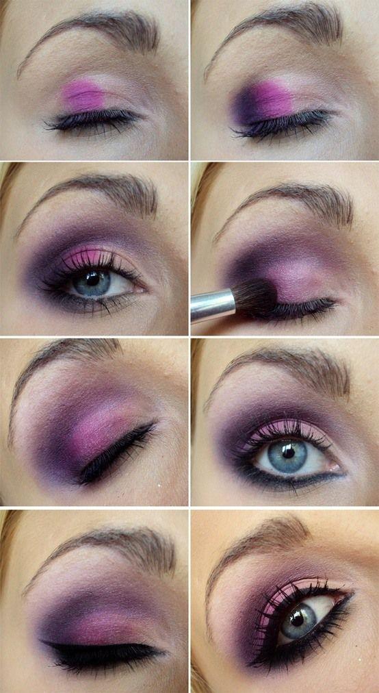 Maquillaje con sombra Fucsia y Morado pasos