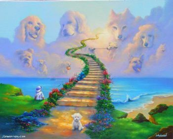 Dog Going to Heaven Poem | Dogs go to heaven...across the rainbow bridge... a painting