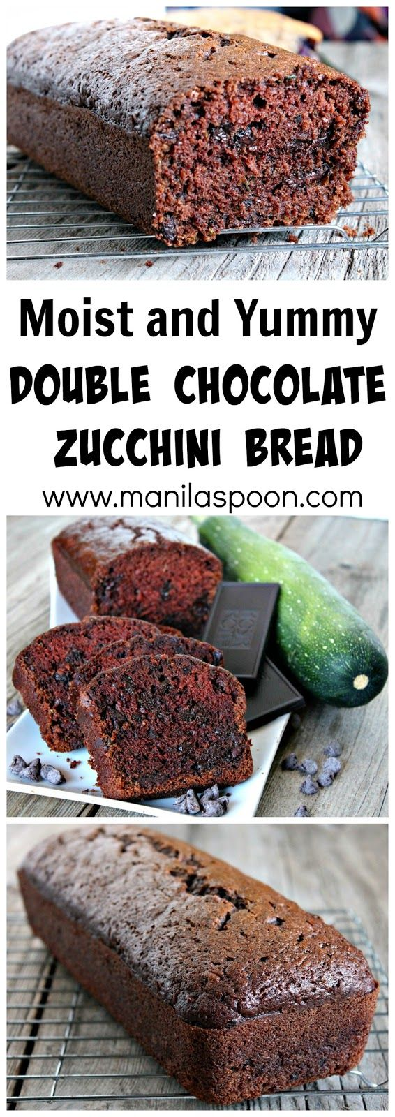 Super-moist, tender and delicious is this Double Chocolate Zucchini Bread. My kids really love this and they don't care that there are veggies in it. It's that good! ! #double #chocolate #zucchini #bread