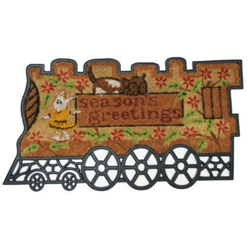 """""""Choo Choo"""" Outdoor Rubber Door Mat - 20"""" x 35"""" Coco Door Mat by Rubber-Cal. $44.90. Our unique 20"""" x 35"""" """"Choo Choo"""" welcome mat is a fun seasonal doorway accessory made with recycled rubber and natural coir fiber for eco-friendliness! This all-weather outdoor mat keeps dirt and mud off of your interior floors and out of your home. Simply shake or brush for easy cleaning. Welcome the holidays with this kid-friendly coco doormat!"""