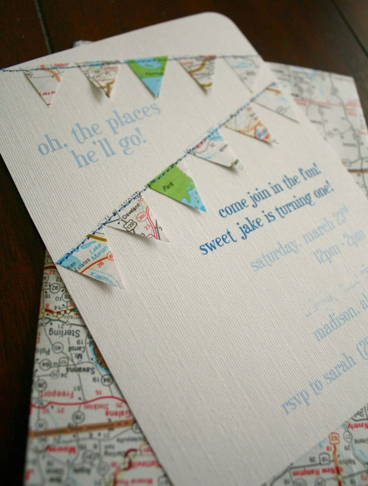 Jake's first birthday party! Travel theme, handmade map invitations!