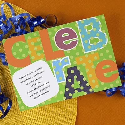 35 best polka dot party supplies images on pinterest party take a look at these polka dot celebrate invitations the word celebrate is spelled out junglespirit Gallery