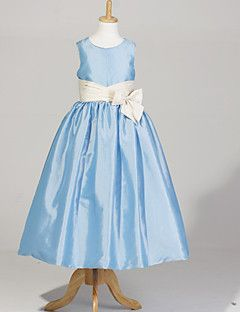 Sleeveless Taffeta Wedding/Party Flower Girl Dress With Bow  – USD $ 34.99