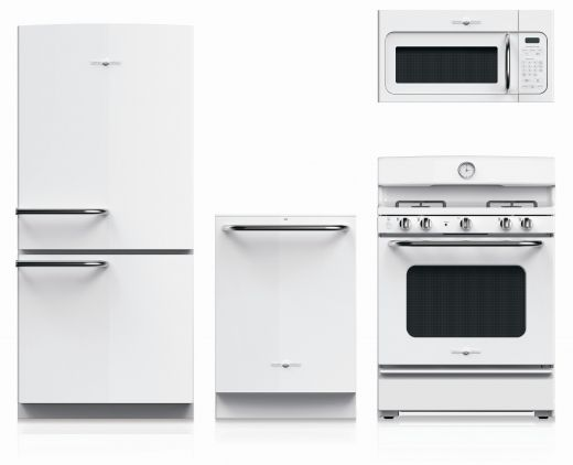 Courtesy of GE Appliances, new line of vintage inspired entry level priced appliances. Black or white gloss with brushed chrome handles.