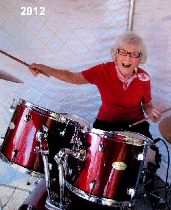 Viola Smith, 100 years old. One of the first female professional drummers. She graced the cover of Billboard Magazine in 1940.