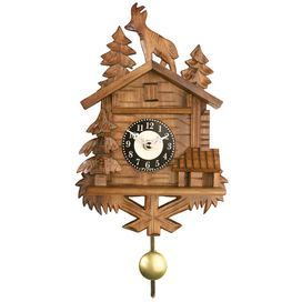 """Wood cuckoo clock with a rustic cabin silhouette.   Product: Cuckoo clock  Construction Material: Wood   Color: Oak  Features:   Chalet with billy goat on roof design No batteries required     Dimensions: 8.5"""" H x 5"""" W x 3"""" D"""
