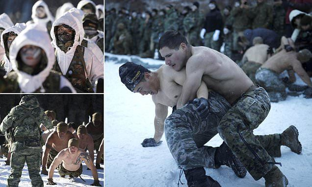 Hundreds of South Korean and US Marines braved subfreezing temperatures as they took part in winter training exercises on Tuesday. Photos show shirtless soldiers wrestling, doing press-ups and snow sport exercises in the eastern mountainous region of Pyeongchang, South Korea, some 180 kilometers east of Seoul. More than 220 South Korean Marines and 220 US Marines took part in the drill, which comes less than two months before the Winter Olympic Games set to be held there in February. The…