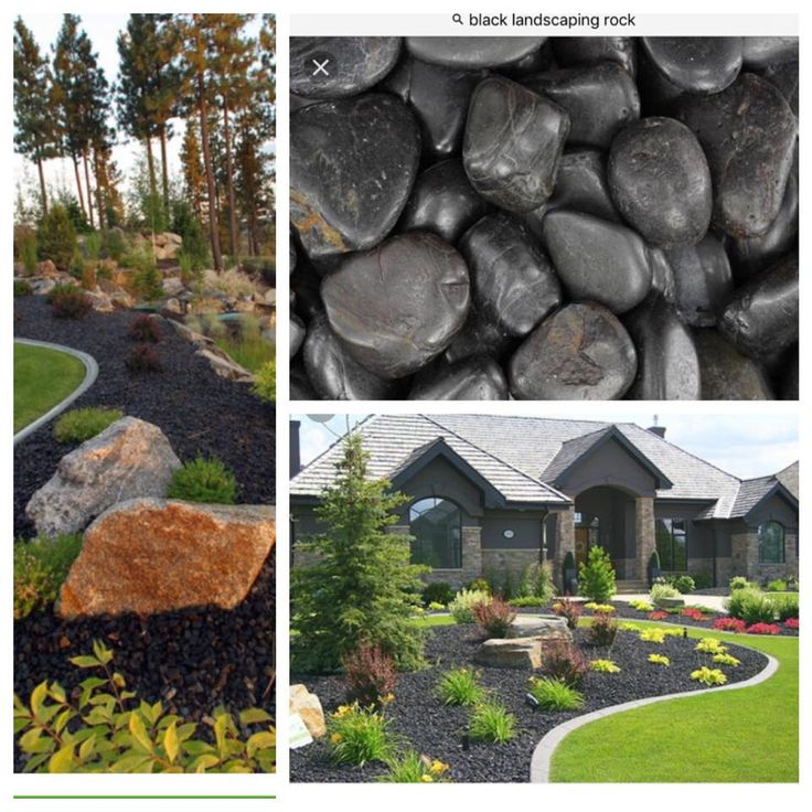 black landscaping rocks