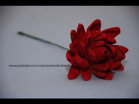 Георгина из конфет и бумаги. DIY Dahlia of sweets and paper - YouTube