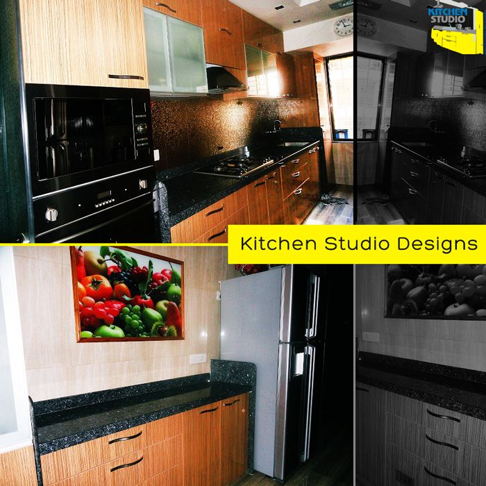 #Modularkitchen with parallel platforms, well-organized design for a small to medium sized kitchens. This one was designed by #KitchenStudio for its client Sweety Kohlin #Mumbai
