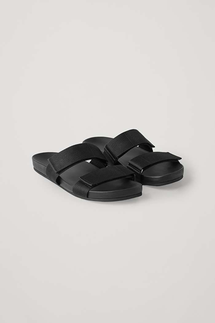 Mens Slip on Sandal Slide Adjustable Comfort Hook and Loop