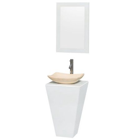 Wyndham Collection Esprit 20 inch Pedestal Bathroom Vanity in Glossy White, White Man-Made Stone Countertop, Smoke Glass Sink, and 20 inch Mirror