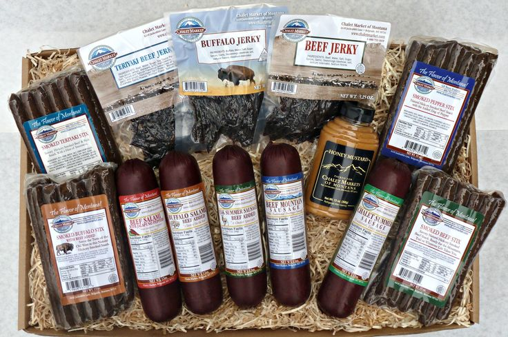 Feed the Gang Gift Box. Lots of meat means lots of happy people!  A delicious assortment of jerky, snack stix and summer sausage.  A great gift for a large crowd.  Made in Montana.