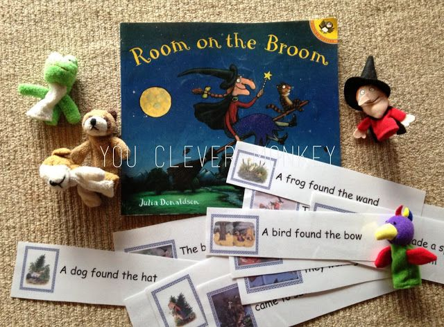 Literacy centres - the first six months Room on a Broom - retelling the story with cards and puppets #youclevermonkey #literacycenter #juliadonaldson