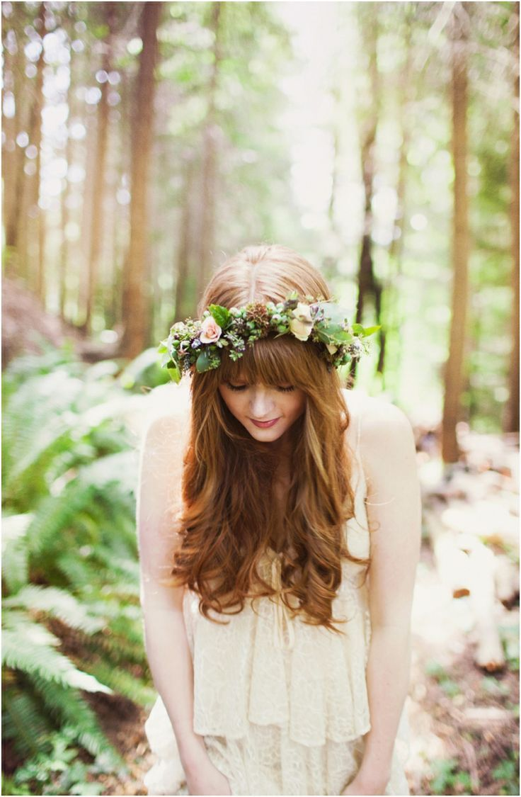 Flower crown with bangs