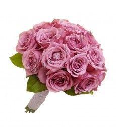 Buchet de mireasa trandafiri mov